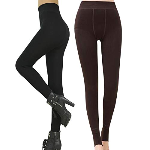 Romastory Winter Warm Women Velvet Elastic Leggings Pants Fleece Lined Thick Tights (Black+Coffee Pack)
