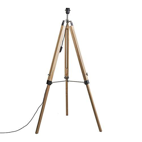 QAZQA Design/Industrie/Industrial/Retro Stehleuchte/Stehlampe/Standleuchte/Lampe/Leuchte im Landhausstil Holz ohne Lampenschirm - Stativ/Innenbeleuchtung/Schlafzimmer/Stahl Länglich