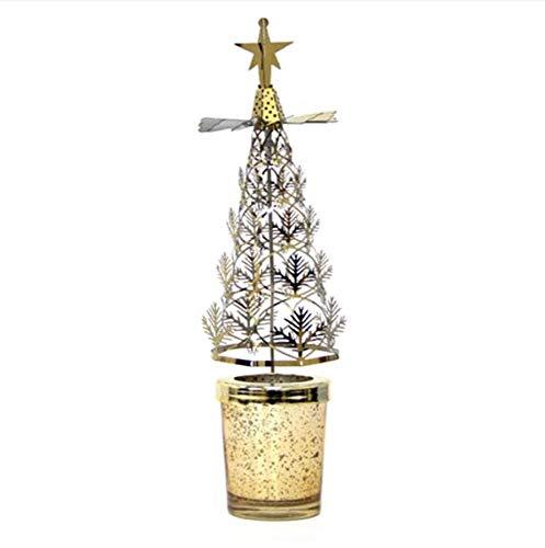 XUE-BAI Drehend Teelichthalter, Drehbar Kerzenhalter, Metall Kerzenständer, Teelichthalter mit Romantische Rotation, Weihnachtsbaum Geformte Tischdekoration für Weihnachten Kerzenleucht