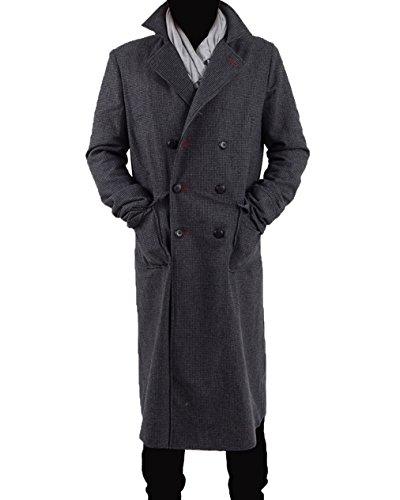 Yeweiwenhua Herren Detektiv Umhang Cosplay Kostüm - Wollmischung (Grau, XXL)