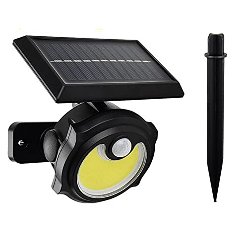 LINGTH Luz solar para exteriores superbrillante, con detector de movimiento, luz de seguridad solar, lámpara de pared, resistente al agua, ajustable, luz deportiva, para jardín al...