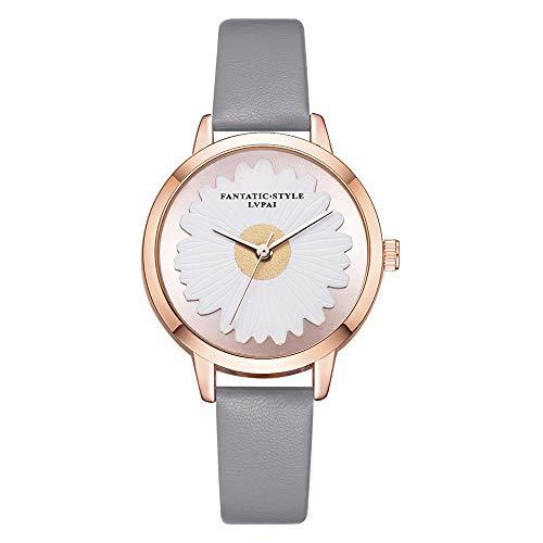 Reloj Reloj Girasol Espejo De Cuarzo Estampado Gris PU