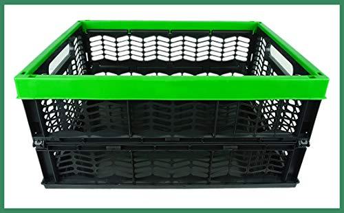 Novaliv Einkaufskorb Klappbox | 30L Grün Schwarz faltbar stabil| Klappkorb Tragebox Klappkiste Kitchen Storage Toy Basket Box Einkaufstasche Korb Küche