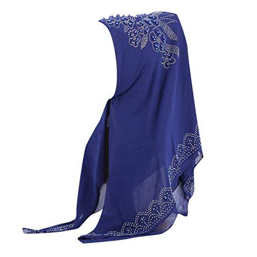 Lazzboy Hijab Kopftuch Für Muslimische - Damen Wrap Schal Turban Islamische Ramadan-tücher Vollständige Abdeckung Elastizität Kopfbedeckungplain Chiffon Muslim Scarf Shawl Head(B)