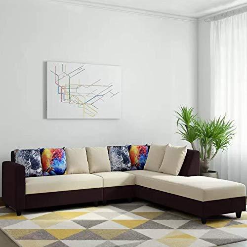CasaStyle - Casper Fabric 6 Seater RHS L Shape Sofa Set (Cream-Brown)