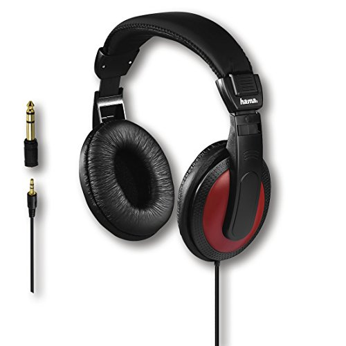 Hama Over-Ear-Stereo-Kopfhörer (vergoldeter 3,5mm-Klinkenstecker und 6,35-mm-Adapter, 113 dB, 2 m Kabel) schwarz/rot