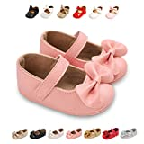 TOBEBEGO Baby Girl Shoes Infant Non-Slip Baby Girl Dress with Bowknot Toddler Mary Jane Shoes(12-18 Months Infant,7-Pink)