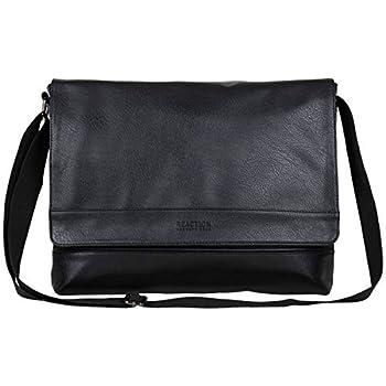 Kenneth Cole REACTION Grand Central Vegan Leather Bag Laptop & Tablet Crossbody Travel Shoulder Case Black Laptop Messenger 15