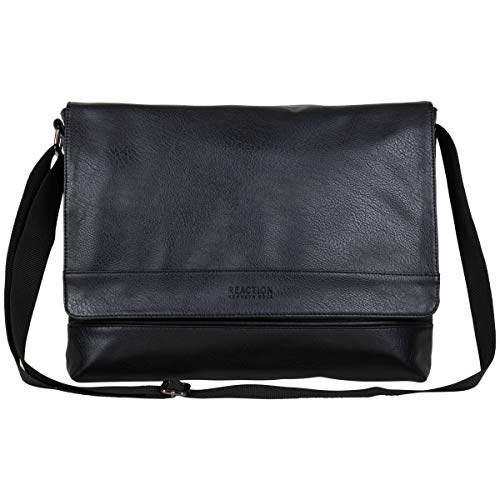 Kenneth Cole REACTION Grand Central Vegan Leather Laptop & Tablet Crossbody Travel Messenger Bag, Black, 15' Laptop