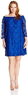 Sharagano Women's Plus Size Lace Off The Shoulder Dress
