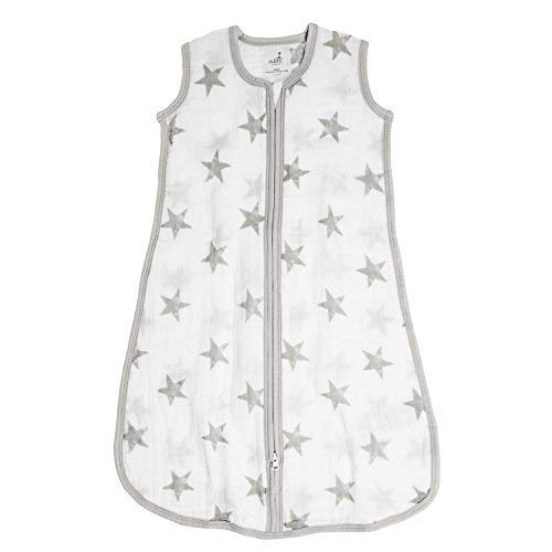 aden + anais Classic Sleeping Bag, 100% Cotton Muslin, Wearable Baby Blanket, Dusty, Stars, Large, 12-18 Months