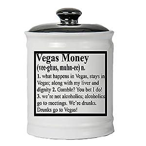 Cottage Creek Piggy Bank, Vegas Fund Definition Money Bank, Round Ceramic Las Vegas Fund Savings Jar with Black Lid, Casino Slots Money Bank [White] by Cottage Creek