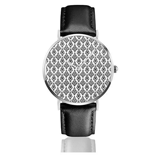 Damast Muster Fliesen Austauschbare Retro Nostalgie Modern Barock Schablone Lederarmband Armbanduhren Casual Klassisch Edelstahl Quarz Business Uhr