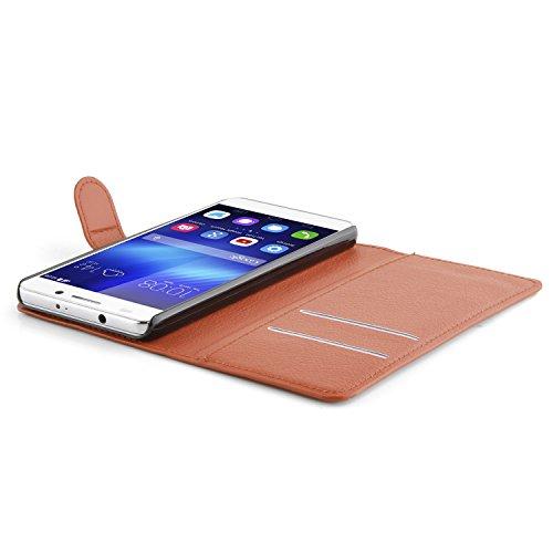 Cadorabo Hülle für Honor 6 - Hülle in Schoko BRAUN – Handyhülle mit Kartenfach und Standfunktion - Case Cover Schutzhülle Etui Tasche Book Klapp Style - 4