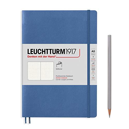 LEUCHTTURM1917 361571 Notizbuch Medium (A5), Softcover, 123 nummerierte Seiten, Denim, dotted