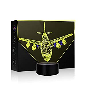Aircraft 3D Lamp Illusion Night Light LED Visual 7 Colors Changing for Nursery Bedroom Desk Table Decoration Creative Festival Birthday Day Children Gift