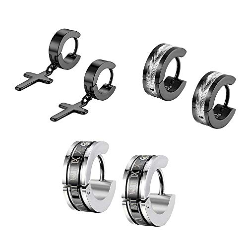 Flongo orecchini uomo in acciaio romatico lettering schema cerchio forma nero per natale San Valentino (3 Paia)