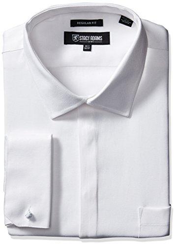 STACY ADAMS Men's Big-Tall Textured Solid Dress Shirt, White, 20' Neck 38'-39' Sleeve