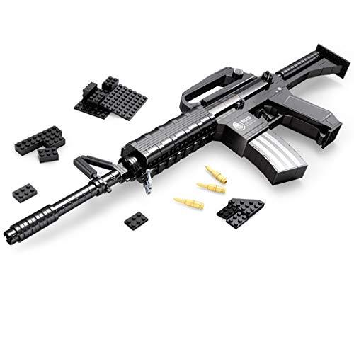 ビルディングブロックのおもちゃ、環境に配慮した教育ビルディングブロックアセンブリ銃自動小銃M16、子供に適した射撃玩具