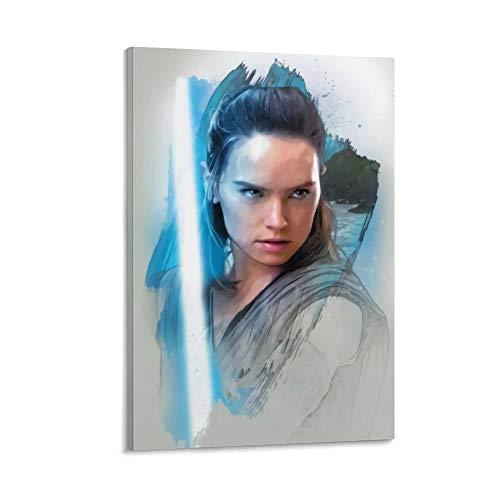DRAGON VINES Star Wars The Force Awakens Rey utilizado para montaje en pared marco de lienzo, impresión artística de pared para sala de estar, oficina en casa, 50 x 75 cm