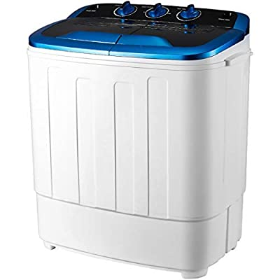 Portable Mini Compact Twin tub Washing Machine w/wash and Spin Cycle, 13 lbs 2in1 Washer Spin dehydrator Ideal…
