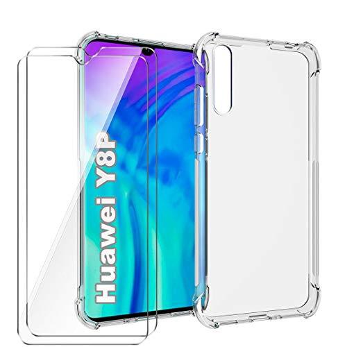 """LJSM Cover per Huawei P Smart S (6.3"""") + 2 Pezzi Vetro Temperato - Custodia Transparente Shock Absorbing Anti-graffio Soft TPU Case con 4 Antiurto Angoli Rinforzati"""
