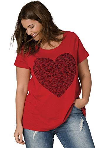 Ellos Women's Plus Size Love Tee - Classic Red Heart, S