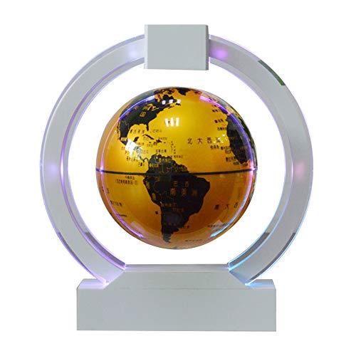 Levitación magnética Flotante Mapa del Mundo Base de Forma Redonda Giratorio Globo terráqueo con Lámpara led Educativo Regalos para niños
