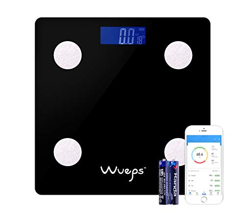 Wueps ® Báscula de baño, peso baño, balanza peso corporal, Max Capacidad 150Kg, Plataforma de vidrio templado 6mm, apagado automático, baterías incluidas, APP compatible con iOS y Android Color Negro