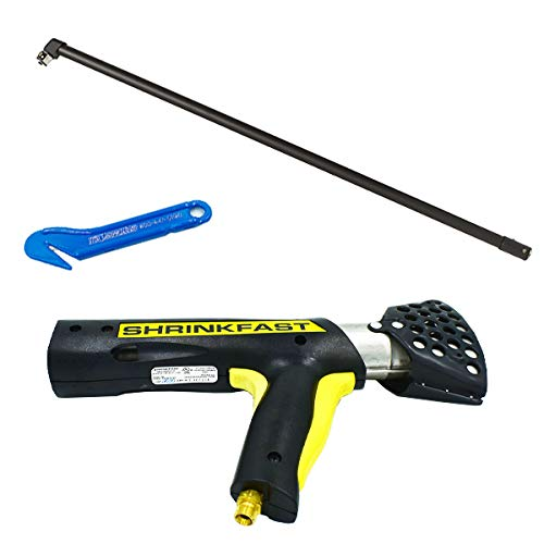 Shrinkfast 998 Propane Heat Gun, 200000 BTU, Ready to Use with 25' Hose, Regulator, Wrench, Hard Case, 6' Angled Extension, and Shrink Film Knife Made in the USA
