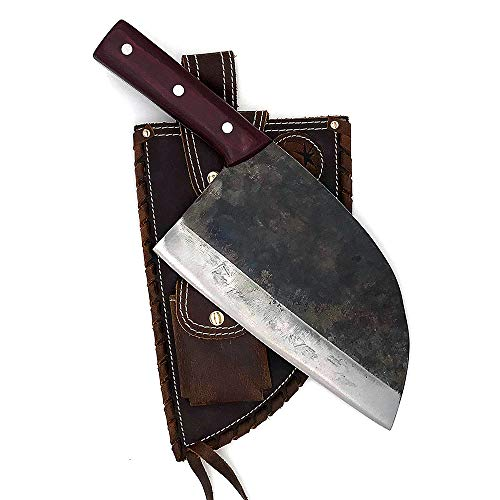 KOPALA Kitchen Knife Cleaver Full Handmade High Carbon Steel Chef Knife 3-layer with Leather Sheath Case