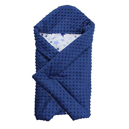 TupTam Baby Sommer Einschlagdecke für Babyschale, Farbe: Sternchen Blau Weiß/Dunkelblau, Größe: ca. 75 x 75 cm