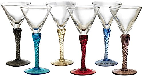 Circleware Gem Multi Colored Cordial Glasses with Clear Stems, Set of 6, 1.5 ounce