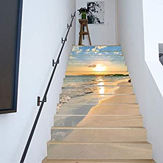 FLFK 13PCS/Set 3D Sunrise Ocean Beach Self-Adhesive Stair Risers Stickers Vinyl Staircase Stickers Stairway Decal Wallpaper 39.3Inch x7.08Inch