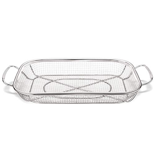 Grill Basket, Stainless Steel Grill Accessories Vegetables Grilling Basket BBQ Basket Barbecue Veggies Charcoal Grilling Topper Cookware for Outdoor Grill