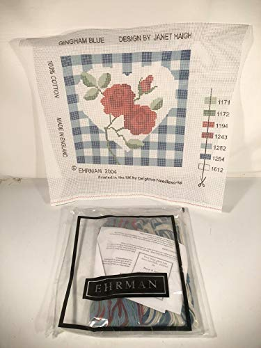 Ehrman Gingham Blue Love Heart Red Rose Tapestry Needlepoint Kit Made In England