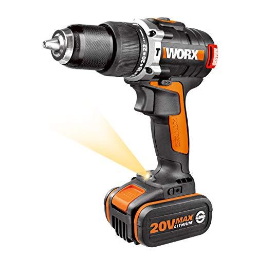 Worx WX373.1 Trapano Avvitatore con Percussione, Motore Brushless a Batteria 20V/ MAX 2.0 Ah Li-ion, Power Share 20V