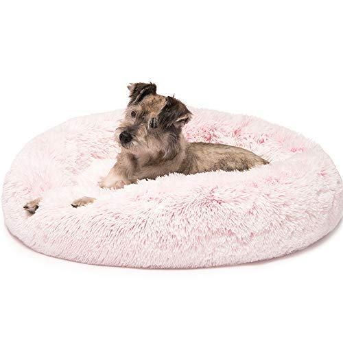 Friends Forever Luxury Pet Calming Bed for Dogs | Faux Fur Anti Anxiety Dog Bed Cute Indoor Round...