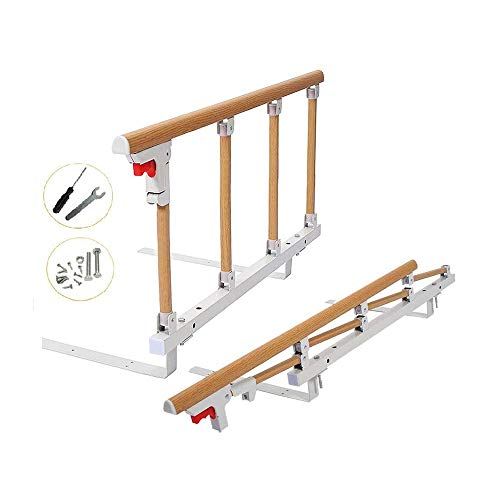 Bed Rails for Elderly Adults Grab Bar Bed Hand Rails Assist Rail Handle Fold Down Medical Hospital Sides Rails Guard Home Care Handicap Safety Assistance Devices (18 inch Height)