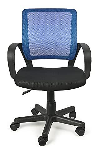 Leomark Silla de Escritorio Infantil ergonómica - IVO - Altura del Asiento Ajustable, giratoria Silla Juvenil de Oficina, con reposabrazos, con Ruedas (Azul)
