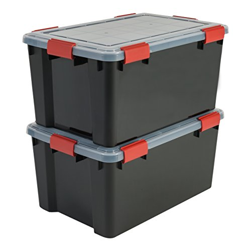 Iris Boxen All-Weather Box, 2er-Set, AT-L, für herausfordernde Lagerbedingungen, Plastik, schwarz, 50 L, 59 x 39 x 29 cm