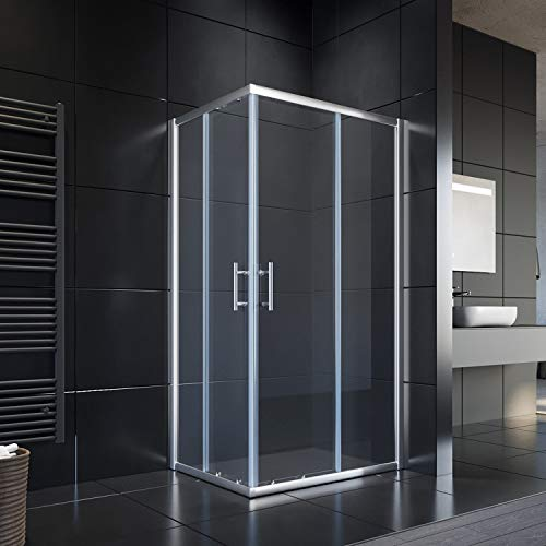 SONNI Duschkabine Duschabtrennung 100x70cm Eckeinstieg Doppel Schiebetür Echtglas