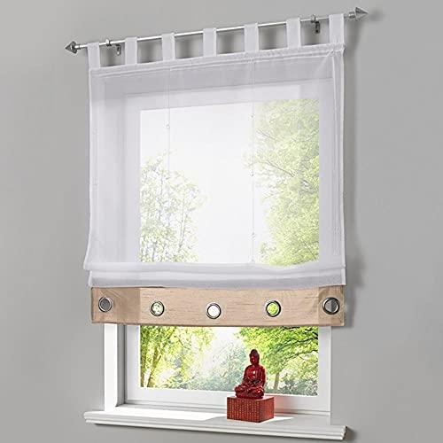 Cortina de hombre con cortina transparente para la cocina Living om Panel de cribado 1 unidades/lote con cinturones de nervaduras - 1, 100 cm de ancho x 155 cm de alto