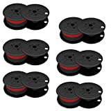 6 Black Red Calculator Ribbons Replacements Compatible with Canon (MP11DX MP-11DX)