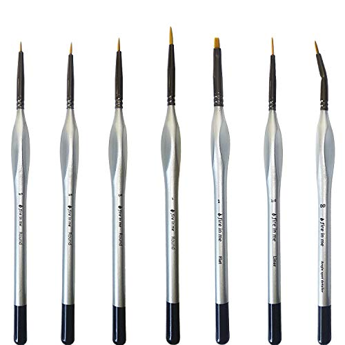 Miniature Paint Brushes Set 6pcs + 1 Free - Best Find Detail Paint Brushes Model Paint Brush Set - Small Tiny Oil Watercolor Acrylic Brushes Hobby Art Supplies