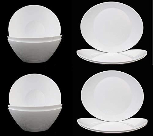 Fitting Gifts Bistro Collection Service Prometeo de Forme Ovale, Blanc Brillant, avec 6X Saladiers et 6X Plats de Service (12 Pièces)