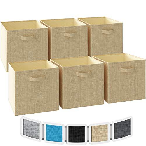 NEATERIZE cubos de almacenamiento grandes de 13 x 13 x 13 – Juego de 6 cubos de almacenamiento | cuenta con asas dobles | cubos de...