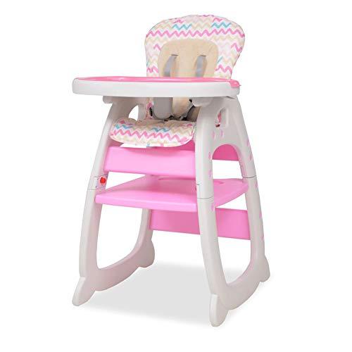 Aynefy - Trona para niños de plástico convertible 3 en 1 con mesa de color rosa, 72 x 62,5 x 106 cm