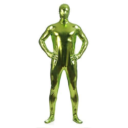 IWEMEK Herren Leder Jumpsuit Wetlook Kunstleder Full Bodysuit Catsuit Glänzed PVC Overall Bodys Zipper Clubwear Männerbody Zentai Kostüm Karneval Erwachsene Ganzkörperanzug Nachtwäsche Grün L