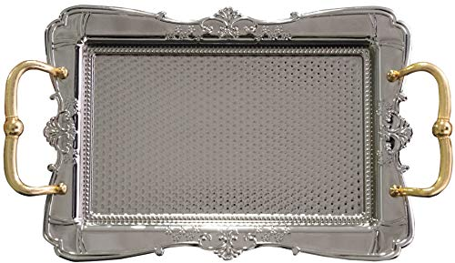 BAYKUL Turkish Ottoman Coffee Tea Beverage Silver Vintage Serving Square Tray Luxury Metal Chrom Moroccan Decorative Breakfast Dinner Table Ottoman Trays Extra Large Silver